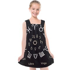 Astrology Chart With Signs And Symbols From The Zodiac, Gold Colors Kids  Cross Back Dress by Jojostore
