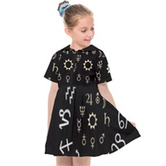Astrology Chart With Signs And Symbols From The Zodiac, Gold Colors Kids  Sailor Dress by Jojostore