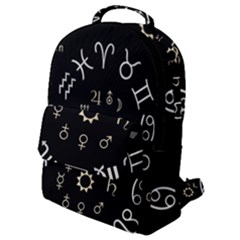 Astrology Chart With Signs And Symbols From The Zodiac, Gold Colors Flap Pocket Backpack (small)