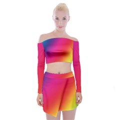 Rainbow Colors Off Shoulder Top With Mini Skirt Set