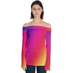 Rainbow Colors Off Shoulder Long Sleeve Top