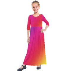 Rainbow Colors Kids  Quarter Sleeve Maxi Dress by Jojostore