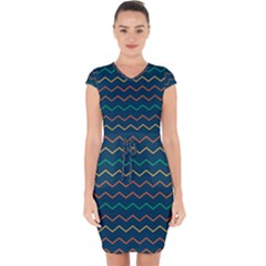 Pattern Zig Zag Colorful Zigzag Capsleeve Drawstring Dress