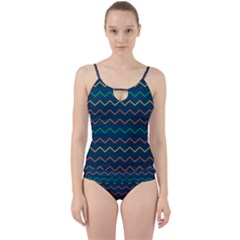 Pattern Zig Zag Colorful Zigzag Cut Out Top Tankini Set