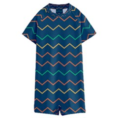 Pattern Zig Zag Colorful Zigzag Kids  Boyleg Half Suit Swimwear