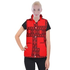 Red Sierpinski Carpet Plane Fractal Women s Button Up Vest