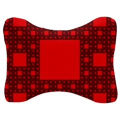 Red Sierpinski Carpet Plane Fractal Velour Seat Head Rest Cushion
