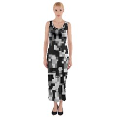 Noise Texture Graphics Generated Fitted Maxi Dress