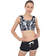 Noise Texture Graphics Generated V Back Sports Bra
