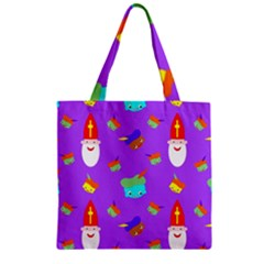 Saint Nicholas Saint Nicholas Zipper Grocery Tote Bag by Sapixe