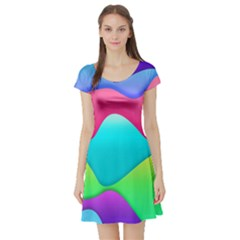 Lines Curves Colors Geometric Lines Short Sleeve Skater Dress