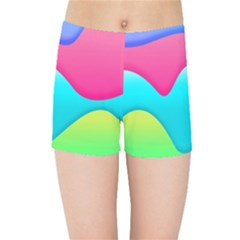 Lines Curves Colors Geometric Lines Kids Sports Shorts by Sapixe