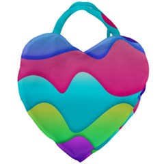 Lines Curves Colors Geometric Lines Giant Heart Shaped Tote by Sapixe