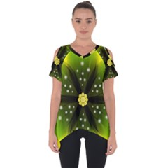 Christmas Flower Nature Plant Cut Out Side Drop Tee by Sapixe