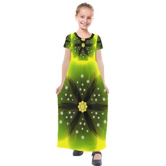 Christmas Flower Nature Plant Kids  Short Sleeve Maxi Dress by Sapixe