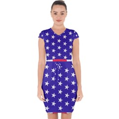 Day Independence July Background Capsleeve Drawstring Dress