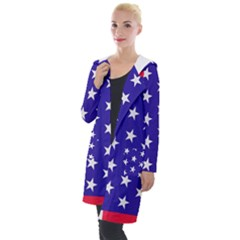 Day Independence July Background Hooded Pocket Cardigan by Sapixe
