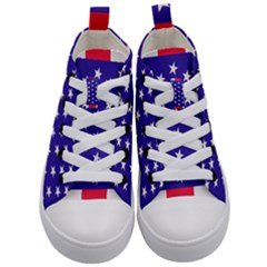 Day Independence July Background Kid s Mid Top Canvas Sneakers