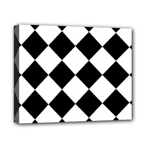 Grid Domino Bank And Black Canvas 10  X 8  (stretched) by Sapixe