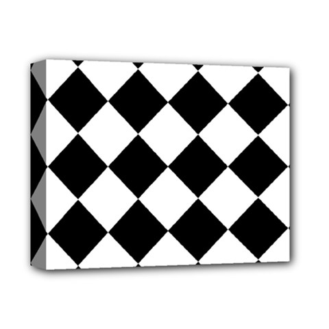 Grid Domino Bank And Black Deluxe Canvas 14  X 11  (stretched)