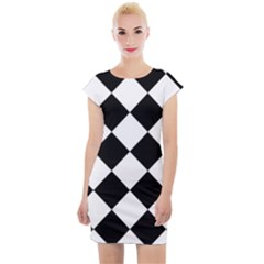 Grid Domino Bank And Black Cap Sleeve Bodycon Dress
