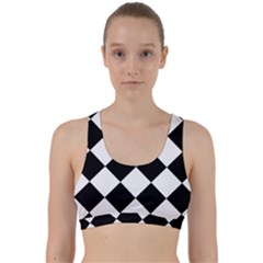 Grid Domino Bank And Black Back Weave Sports Bra