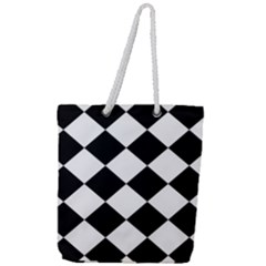 Grid Domino Bank And Black Full Print Rope Handle Tote (large) by Sapixe