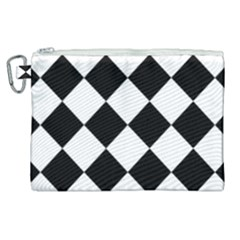 Grid Domino Bank And Black Canvas Cosmetic Bag (xl) by Sapixe