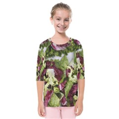Salad Lettuce Vegetable Kids  Quarter Sleeve Raglan Tee