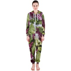 Salad Lettuce Vegetable Hooded Jumpsuit (ladies)  by Sapixe