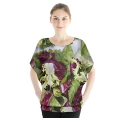 Salad Lettuce Vegetable Batwing Chiffon Blouse
