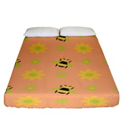 Bee A Bug Nature Wallpaper Fitted Sheet (king Size)