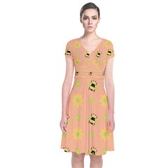 Bee A Bug Nature Wallpaper Short Sleeve Front Wrap Dress