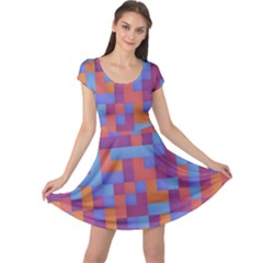 Squares Background Geometric Modern Cap Sleeve Dress