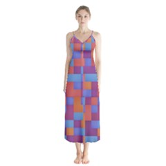 Squares Background Geometric Modern Button Up Chiffon Maxi Dress