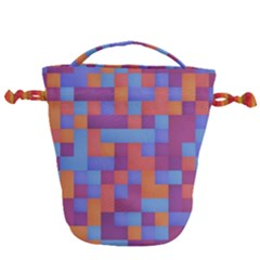 Squares Background Geometric Modern Drawstring Bucket Bag