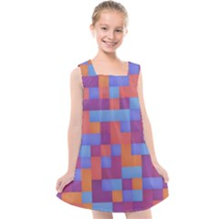 Squares Background Geometric Modern Kids  Cross Back Dress by Sapixe