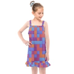 Squares Background Geometric Modern Kids  Overall Dress