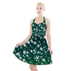 Christmas Star Advent Background Halter Party Swing Dress