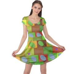 Easter Egg Happy Easter Colorful Cap Sleeve Dress