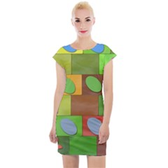 Easter Egg Happy Easter Colorful Cap Sleeve Bodycon Dress