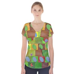 Easter Egg Happy Easter Colorful Short Sleeve Front Detail Top