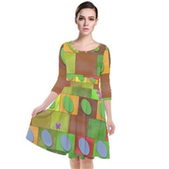 Easter Egg Happy Easter Colorful Quarter Sleeve Waist Band Dress