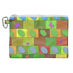 Easter Egg Happy Easter Colorful Canvas Cosmetic Bag (xl)