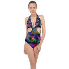 Abstract Art Color Design Lines Halter Front Plunge Swimsuit
