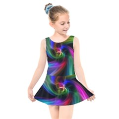 Abstract Art Color Design Lines Kids  Skater Dress Swimsuit