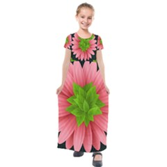 Plant Flower Flowers Design Leaves Kids  Short Sleeve Maxi Dress by Sapixe