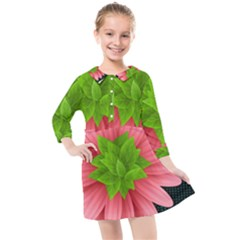 Plant Flower Flowers Design Leaves Kids  Quarter Sleeve Shirt Dress