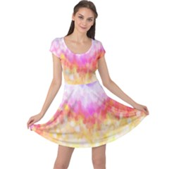 Rainbow Pontilism Background Cap Sleeve Dress
