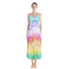 Rainbow Pontilism Background Button Up Chiffon Maxi Dress by Sapixe